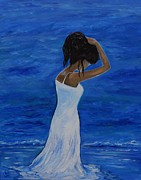 Woman In Water Painting Posters - The Waves Of Beauty Poster by Leslie Allen