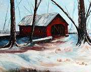 Covered Bridge Painting Metal Prints - The Way Home Metal Print by Meaghan Troup