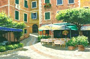 Portofino Cafe Painting Prints - The Way Home Print by Michael Swanson