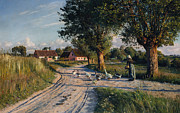 Rural Life Painting Framed Prints - The Way Home Framed Print by Peder Monsted