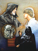 Star Drawings Metal Prints - The Way of the Force Metal Print by Edward Draganski