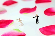 Wedding Digital Art Prints - The wedding among rose petals little people big world Print by Paul Ge