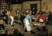 Banquet Prints - The Wedding Banquet Print by Pieter Bruegel the Elder