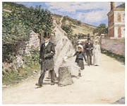 Bride And Groom Paintings - The Wedding March by Theodore Robinson