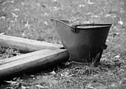 Garden Scene Digital Art Posters - THE WEED BUCKET in BLACK  AND WHITE Poster by Rob Hans