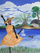 Gullah Art Posters - The Welcome River Poster by Patricia Sabree