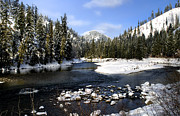 Nature Icicle Prints - The Wenatchee River in the High Cascades Print by Greg Sigrist