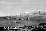 Yerba Buena Island Posters - The Western span of the San Francisco - Oakland Bay Bridge Under Construction March 2 1935 Poster by California Views Mr Pat Hathaway Archives
