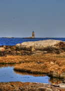 Maine Shore Prints - The Whaleback Lighthouse Print by Joann Vitali