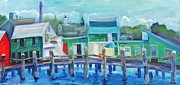 Sharks Paintings - The Wharf in August by Maria Milazzo