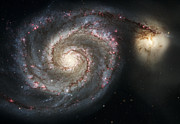 Science Fiction Art Posters - The Whirlpool Galaxy M51 and Companion Poster by Adam Romanowicz