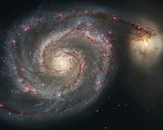 Galaxy Fusion Posters - The Whirlpool Galaxy M51 and companion Galaxy  Poster by Roman