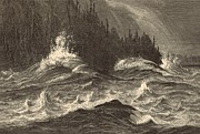 Choppy Digital Art - The Whirlpool by Antique Engravings