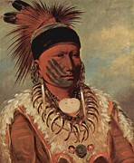 Indian Warrior Art Posters - The White Cloud Head Chief Of The Iowas Poster by George Catlin