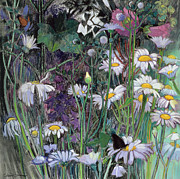 Forest Floor Painting Posters - The White Garden Poster by Claire Spencer