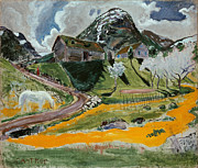 Famous Artists - The white Horse in Spring by Nikolai Astrup