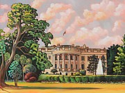White House Paintings - The White House Fountain by Eve  Wheeler