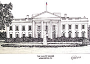 Buildings Drawings Drawings Framed Prints - The White House Framed Print by Frederic Kohli
