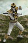 Morphing Digital Art Posters - The White Ranger Poster by Michael Tiscareno