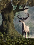 Stag Digital Art - The White Stag by Daniel Eskridge
