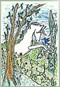 Setting Drawings Prints - The White Stallion Is Chatting with His Friends Print by Patricia Keller