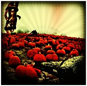 Crow Posters - The Wicked Pumpkin Patch Poster by Tisha McGee