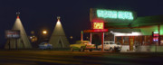 Night Scene Posters - The Wigwam Motel On Route 66 Poster by Mike McGlothlen
