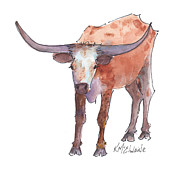Longhorn Posters Framed Prints - The Wild Side Framed Print by Kathleen McElwaine