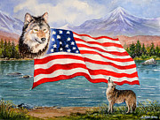 Flag Of Usa Painting Prints - The Wildlife Freedom collection 1 Print by Andrew Read