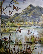 Mallards Paintings - The Wildlife Refuge by Luisa Leger