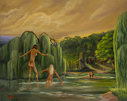 Swimming Hole Paintings - The Willows at Barebottom Beach by William Allen