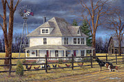 Windmill Paintings - The Wind Takes You Back by Chuck Pinson
