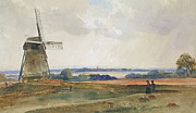English Watercolor Paintings - The Windmill by Peter de Wint