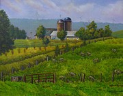 Country Scenes Originals - The Windmills from Rte 219 by Sandra Wright