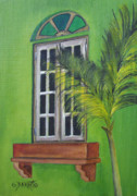 Puerto Rico Painting Posters - The Window Poster by Gloria E Barreto-Rodriguez