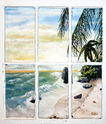 Beach Window Painting Framed Prints - The Window Framed Print by Thomas Olson Jr