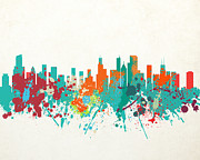 Willis Tower Digital Art - The Windy City Chicago Skyline - Painted by World Art Prints And Designs