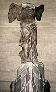 Nike Photo Posters - The Winged Victory of Samothrace marble sculpture of the Greek goddess Nike Victory Poster by Gregory Dyer