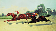 Race Metal Prints - The Winning Post in Sight Metal Print by Henry Stull