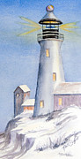Newton Drawings - The Winter Lighthouse by Ruth Bodycott