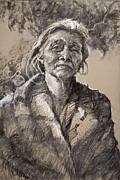 Charcoal Pastels Prints - The Wisdom of Age Print by Ellen Dreibelbis