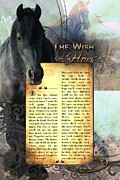 Friesian Art Prints - The Wish Of A Horse Print by Graphicsite Luzern