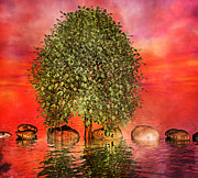 Stepping Stones Digital Art Prints - The Wishing Tree One of Two Print by Betsy A Cutler East Coast Barrier Islands