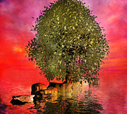 Stepping Stones Digital Art Prints - The Wishing Tree Two of Two Print by Betsy A Cutler East Coast Barrier Islands