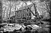 Flourtown Posters - The Wissahickon Creek and Mather Mill in Black and White Poster by Bill Cannon