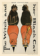 Paper Dolls Posters - The Witch and her Black Cat. Magic Changelings by M. A. Glenn  Poster by Pierpont Bay Archives