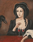 Wine Glasses Paintings - The Witch and Two Ravens by Margaryta Yermolayeva