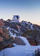 Snow-covered Landscape Prints - The Wiyn Observatory On Top Of Snow Print by John Davis