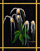 Pouch Painting Posters - The Wizard Slipper Orchid Poster by Barbara Griffin