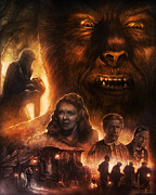 Classic Horror Framed Prints - The Wolf Man Framed Print by Casey Callender